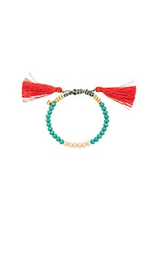 Tropics Tassel Bracelet in Turquoise & Indian Red