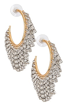 Rhinestone Fringe Hoop Earrings Rebecca Minkoff $88