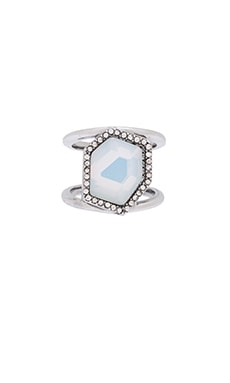 Rebecca Minkoff Stone Slit Ring in Rhodium & White Opal