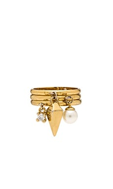 Rebecca Minkoff Set of 3 Charm Rings in Gold & Pearl & Crystal