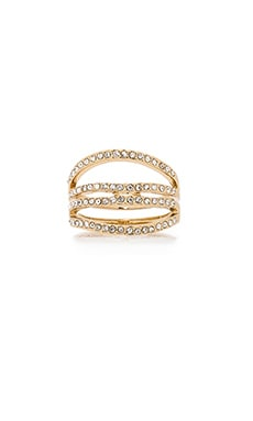 Rebecca Minkoff Four Band Ring in Gold & Crystal