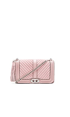 Chevron Quilted Love Crossbody Bag in Vintage Pink