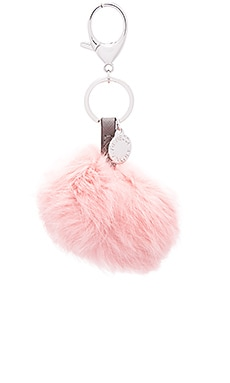 Rebecca Minkoff Rabbit Fur Pom Pom Key Chain in Vintage Pink