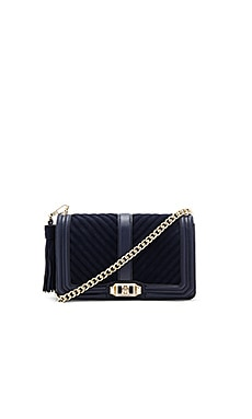 Chevron Quilted Love Crossbody Bag in Moon