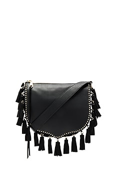 Large Multi Tassel Saddle Bag in Black