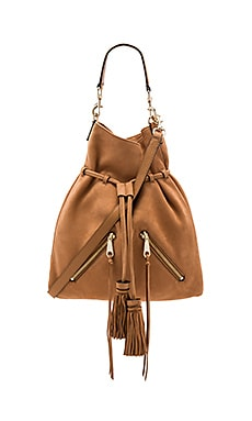 Large Moto Drawstring Crossbody Bag in Almond