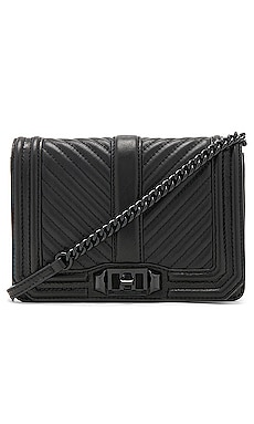 Chevron Quilted Small Love Crossbody Bag in Black