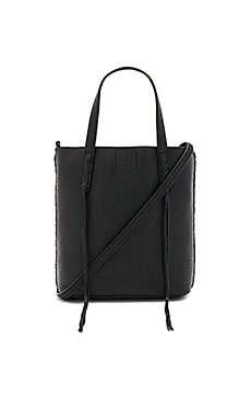 Mini Unlined Tote With Whipstitch in Black