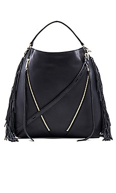 Rebecca Minkoff Fringe Moto Hobo Bag in Black