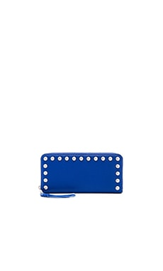 Rebecca Minkoff Ava Zip Studded Wallet in Cobalt
