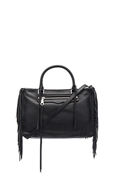 Rebecca Minkoff Fringe Regan Satchel Bag in Black