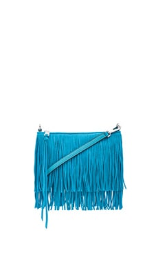 Rebecca Minkoff Suede Finn Crossbody Bag in Deep Cyan