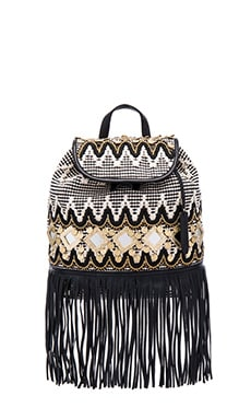 Fringe Taj Backpack in Black & White Multi