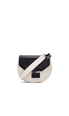 Medium Paris Saddle Bag en Black & Antique White