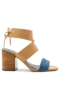 Christy Heel in Light Blue Denim & Natural Vachetta