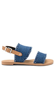 Emery Sandal in Light Blue Denim & Natural Vachetta