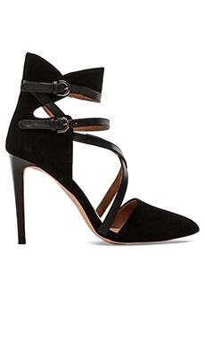 Rebecca Minkoff Raz Heel in Black & Black Shiny Lizard Print