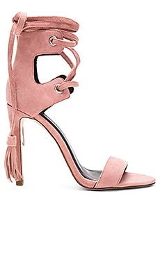 Rebecca Minkoff Riley Heel in Guava Kid Suede