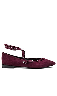 Faye Flat in Dark Maroon Kid Suede