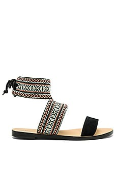 Emma Sandal in Black & Tribal Woven