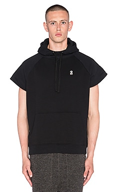 Robert Geller Seconds Cut Sleeve Hoodie in Black