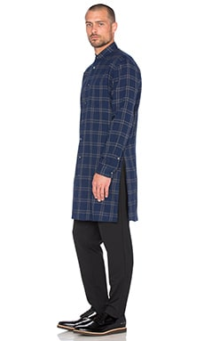 Robert Geller Long Checkered Shirt in Navy