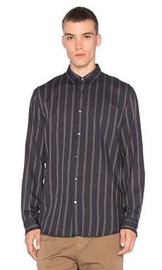 Robert Geller Striped Shoulder Pleat Shirt in Grey