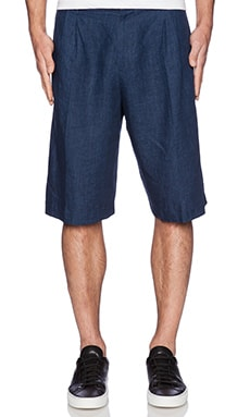 Rochambeau Pleated Shorts in Navy