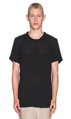 Rochambeau Seed Stitch Knit Tee in Charcoal