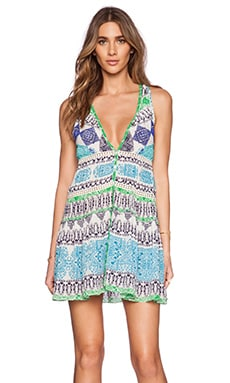 ROCOCO SAND Crepe Mini Dress in Blue & Green Cross Print