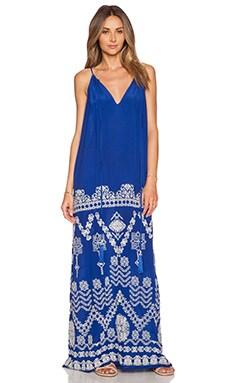 ROCOCO SAND Maxi Dress in White & Blue Cross Stitch