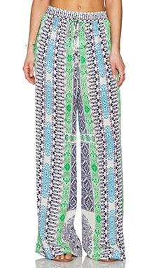 ROCOCO SAND Printed Pant in Blue & Green Cross Print