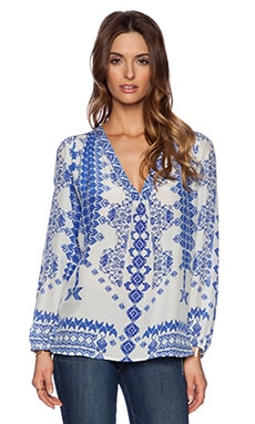 ROCOCO SAND Back to Greece V Neck Top in Cross Print