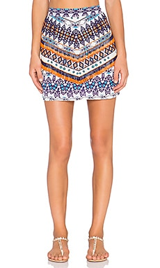 ROCOCO SAND The Master Embellished Mini Skirt in Grey Blue Print