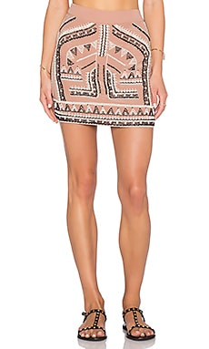 ROCOCO SAND Beaded Embroidery Mini Skirt in Beige