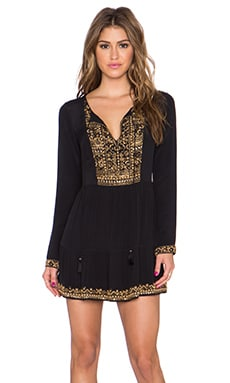 ROCOCO SAND Beaded Embroidery Mini Dress in Black