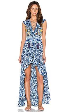 ROCOCO SAND Silk Crepe Maxi Dress in Tile Blue