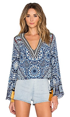 ROCOCO SAND Tile Color Embroidered Crop Top in Multi