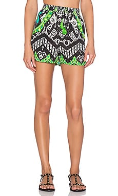ROCOCO SAND The Throne Scallop Crepe Shorts in OVLP Print