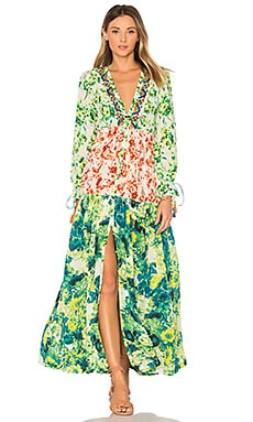 Romantic Floral Maxi Dress in Green