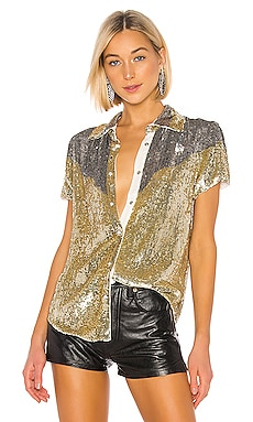 x REVOLVE Linda Top In Gold & Silver retrofete $520 NEW ARRIVAL