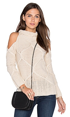 Cold Shoulder Cable Sweater in Oatmeal
