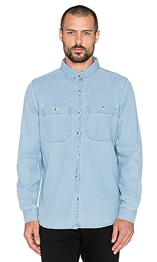 ROLLA'S Men At Work Shirt in Washed Denim