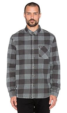 ROLLA'S Flanny Check Shirt in Grey & Faded Black