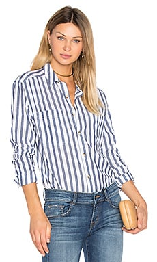 Stripe Button Up in Navy Stripe
