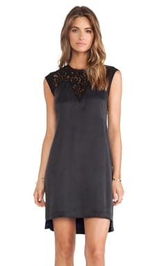 Rebecca Taylor Silk & Lace Mix Dress in Black