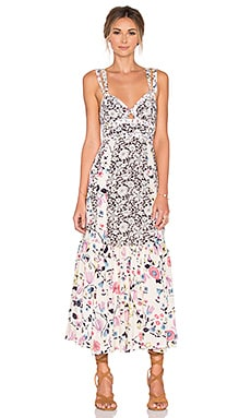 Rebecca Taylor Sleeveless Tapestry Garden Dress in Creamsicle