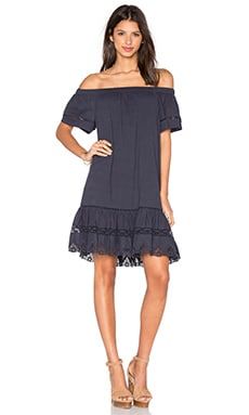 Off Shoulder Cotton Dress in Navy