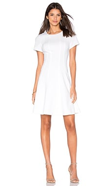 Rebecca Taylor Short Sleeve Knit Pique Dress in Snow