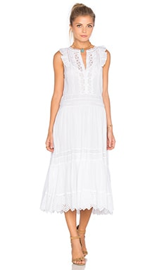 Sleeveless Voile Lace Dress in Sea Salt